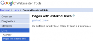Google Webmaster Tools External Links Error