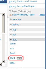 Screenshot of the YQL html data table