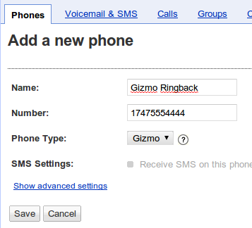 Add Gizmo Phone to Google Voice