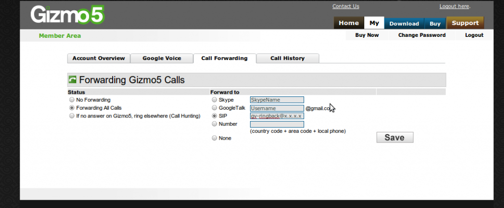 Gizmo Call Forwarding
