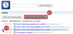 Deleting Individual Web Pages from Google Chrome History